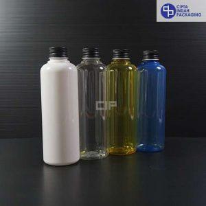 Botol Plastik 250 ml-tutup Ulir Aluminium Hitam
