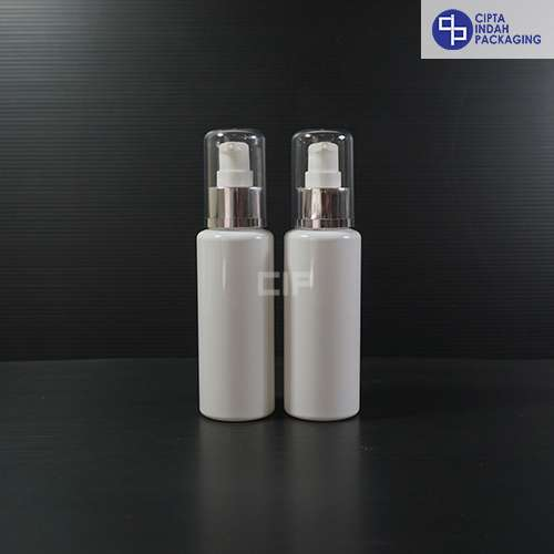 Botol Pump Treatment 100 ml RF Putih - Tutup Silver