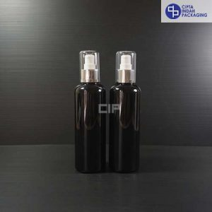 Botol Pump treatment 250 ml Hitam-tutup Silver