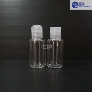 Botol Disctop Bening 60 ml Tubular-Tutup Natural