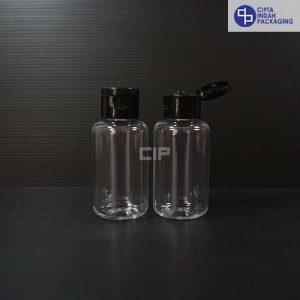 Botol Fliptop Bening 60 ml Tubular-Tutup Hitam