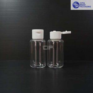 Botol Fliptop Bening 60 ml Tubular-Tutup Putih