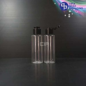 Botol Fliptop Topi 100 ml RF Bening-Tutup Hitam