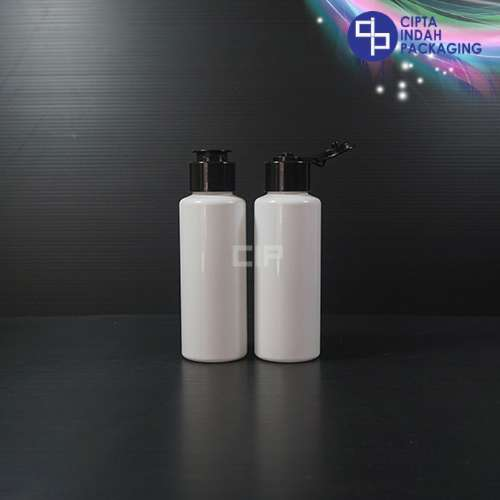 Botol Fliptop Topi 100 ml RF Putih-Tutup Hitam