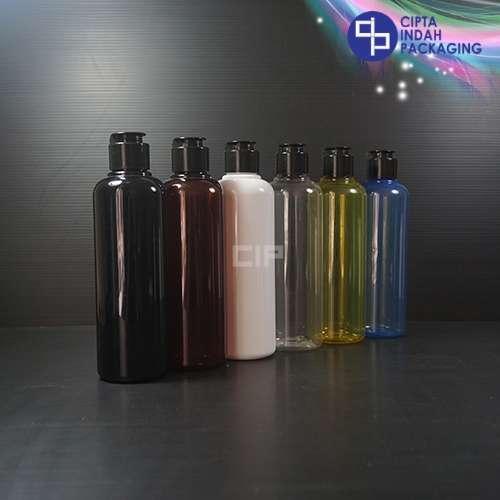 Botol Fliptop Topi 250 ml Warna-Tutup Hitam