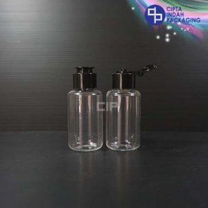 Botol Fliptop Topi 60 ml Tubular Bening-Tutup Hitam
