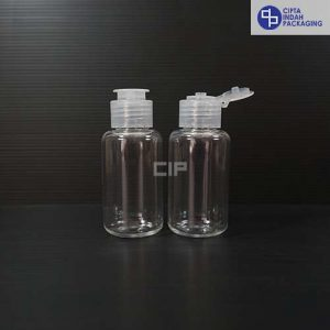 Botol Fliptop Topi 60 ml Tubular Bening-Tutup Natural